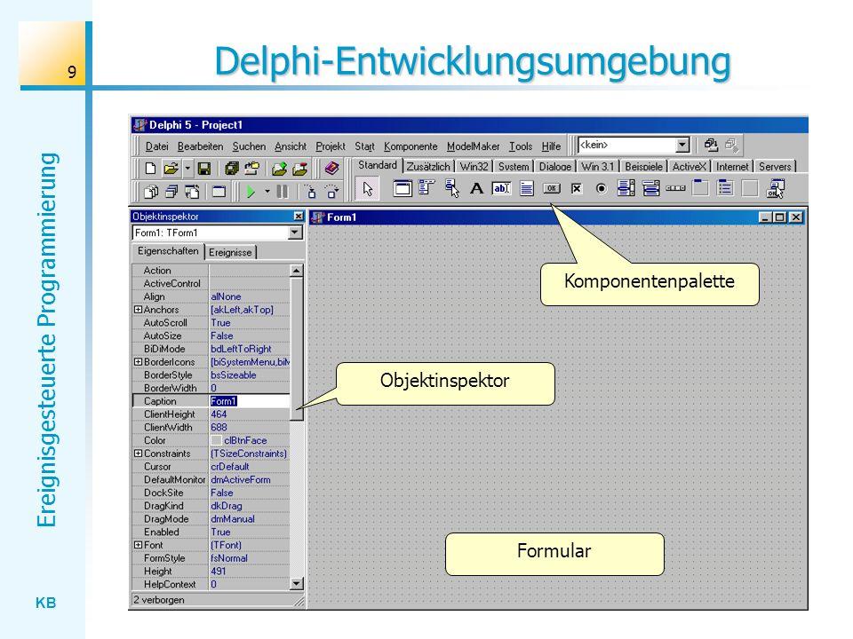 KB Ereignisgesteuerte Programmierung 9 Delphi-Entwicklungsumgebung Komponentenpalette Objektinspektor Formular