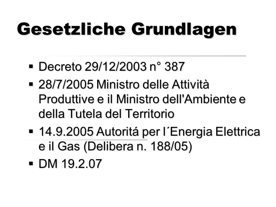 Gesetzliche Grundlagen Decreto 29/12/2003 n° 387 Decreto 29/12/2003 n° 387 28/7/2005 Ministro delle Attività Produttive e il Ministro dell Ambiente e della Tutela del Territorio 28/7/2005 Ministro delle Attività Produttive e il Ministro dell Ambiente e della Tutela del Territorio 14.9.2005 Autoritá per l´Energia Elettrica e il Gas (Delibera n.