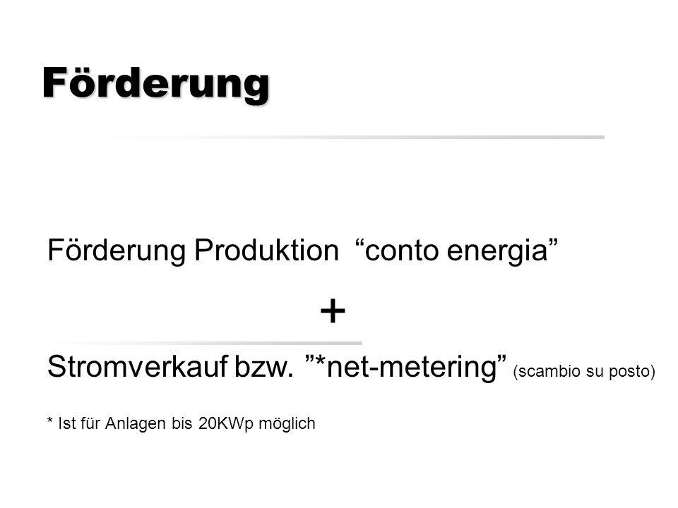 Förderung Förderung Produktion conto energia + Stromverkauf bzw.