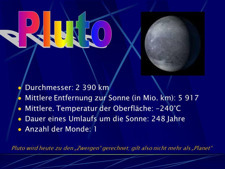 Durchmesser: 2 390 km Mittlere Entfernung zur Sonne (in Mio.