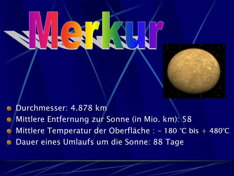 Durchmesser: 4.878 km Mittlere Entfernung zur Sonne (in Mio.