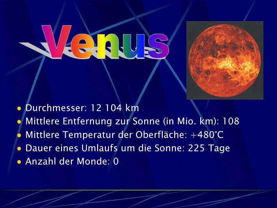 Durchmesser: 12 104 km Mittlere Entfernung zur Sonne (in Mio.