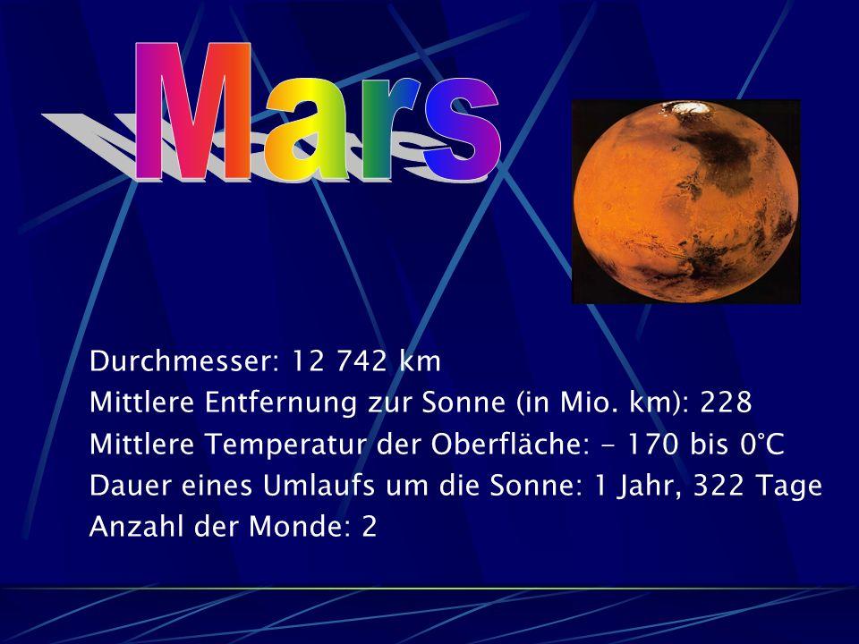 Durchmesser: 12 742 km Mittlere Entfernung zur Sonne (in Mio.