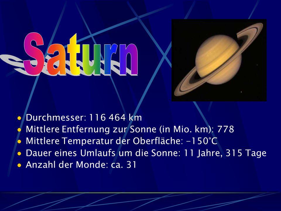 Durchmesser: 116 464 km Mittlere Entfernung zur Sonne (in Mio.