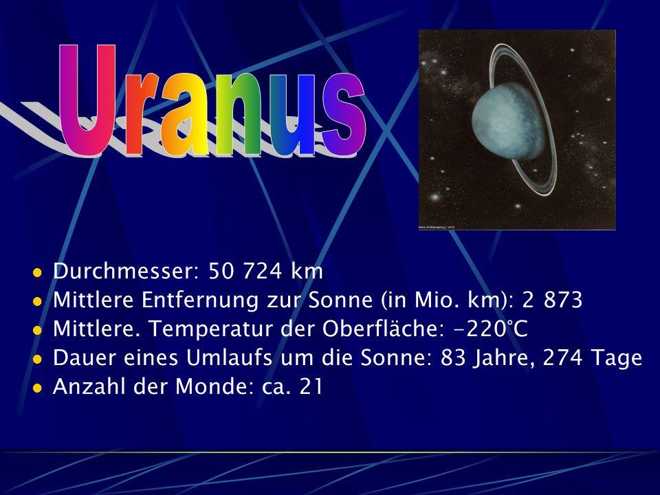 Durchmesser: 50 724 km Mittlere Entfernung zur Sonne (in Mio.