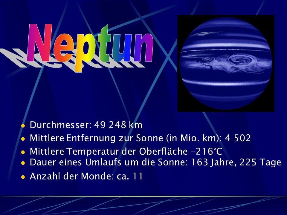 Durchmesser: 49 248 km Mittlere Entfernung zur Sonne (in Mio.