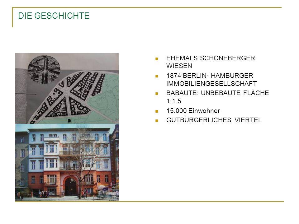 DIE GESCHICHTE EHEMALS SCHÖNEBERGER WIESEN 1874 BERLIN- HAMBURGER IMMOBILIENGESELLSCHAFT BABAUTE: UNBEBAUTE FLÄCHE 1:1.5 15.000 Einwohner GUTBÜRGERLIC