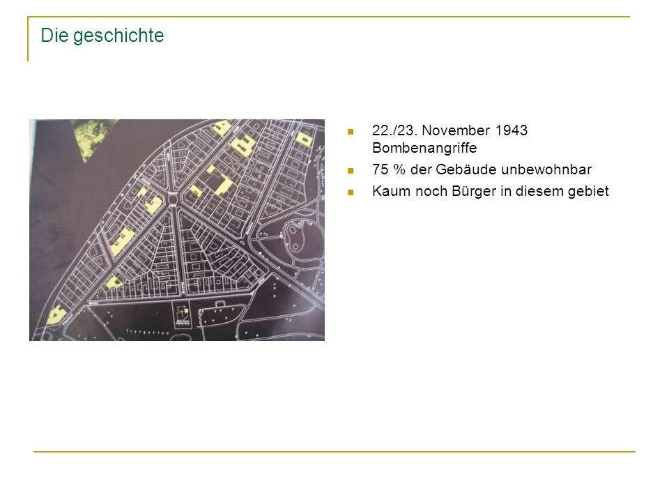 Die geschichte 22./23. November 1943 Bombenangriffe 75 % der Gebäude unbewohnbar Kaum noch Bürger in diesem gebiet