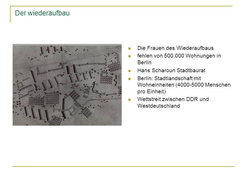 Der wiederaufbau Die Frauen des Wiederaufbaus fehlen von 500.000 Wohnungen in Berlin Hans Scharoun Stadtbaurat Berlin: Stadtlandschaft mit Wohneinheit