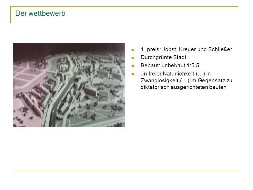 Der wettbewerb 1. preis: Jobst, Kreuer und Schließer Durchgrünte Stadt Bebaut: unbebaut 1:5.5 in freier Natürlichkeit,(…) in Zwanglosigkeit,(…) im Geg