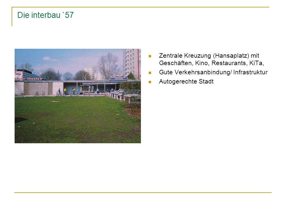 Die interbau `57- ein erfolg Themen der Interbau: sozialer Wohnungsbau, Modernität, Offenheit, Abstraktion Bauliche Neuerungen Symbol für eine neue Gesellschaft Interbau- ein erfolg: 1 Millionen Besucher, davon 88.000 Ausländer Aktuell: das gesamte Hansaviertel steht unter Denkmalschutz