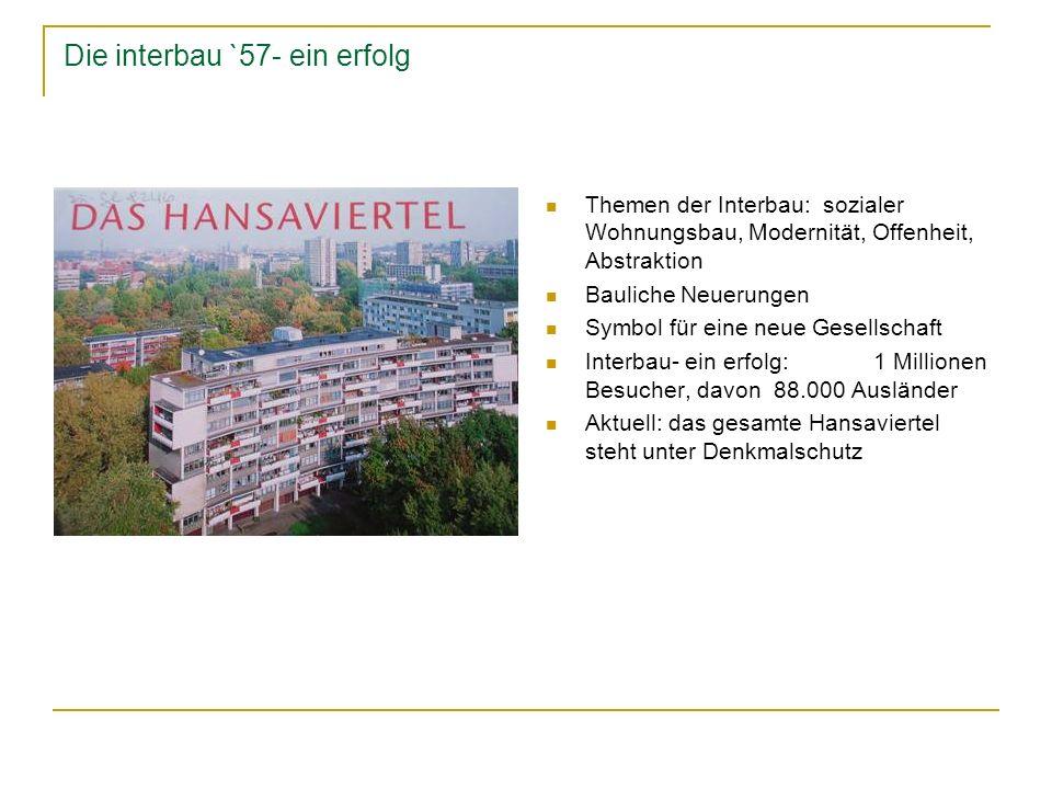 Die interbau `57- ein erfolg Themen der Interbau: sozialer Wohnungsbau, Modernität, Offenheit, Abstraktion Bauliche Neuerungen Symbol für eine neue Ge