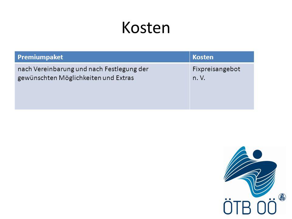 Kosten PremiumpaketKosten nach Vereinbarung und nach Festlegung der gewünschten Möglichkeiten und Extras Fixpreisangebot n. V.
