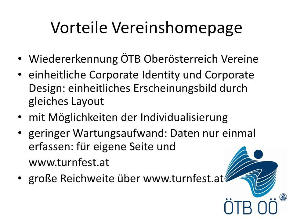 Vorteile Vereinshomepage Wiedererkennung ÖTB Oberösterreich Vereine einheitliche Corporate Identity und Corporate Design: einheitliches Erscheinungsbi