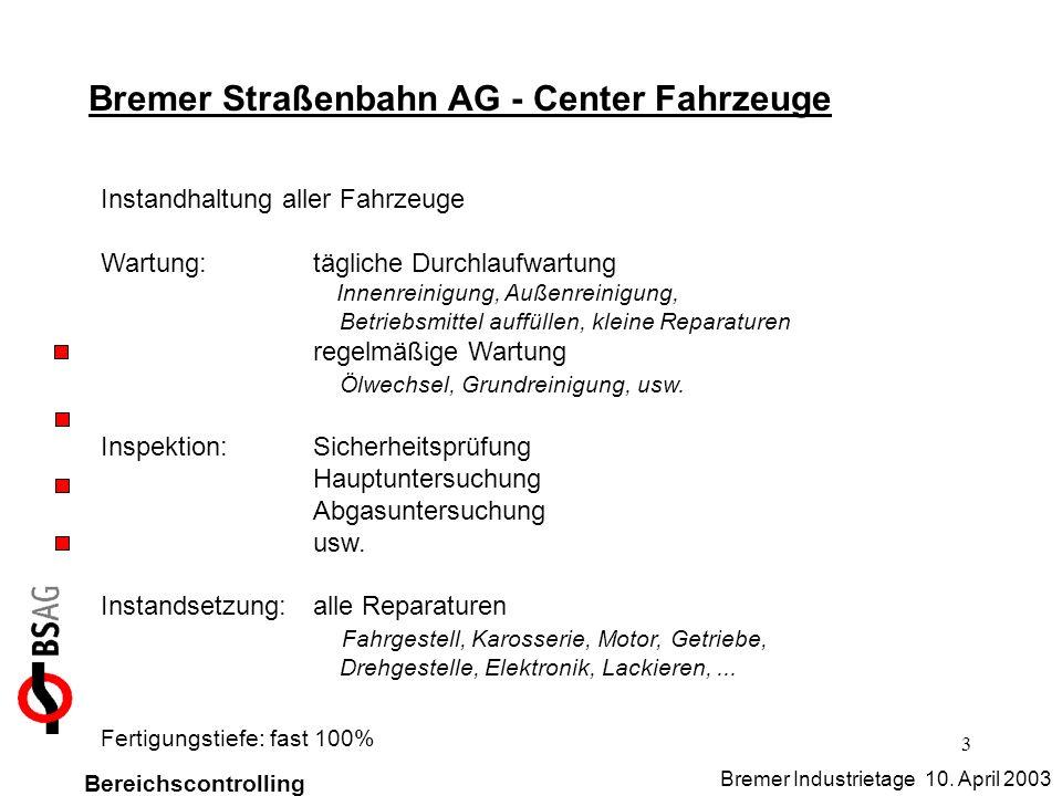 3 Bremer Straßenbahn AG - Center Fahrzeuge Instandhaltung aller Fahrzeuge Wartung:tägliche Durchlaufwartung Innenreinigung, Außenreinigung, Betriebsmi