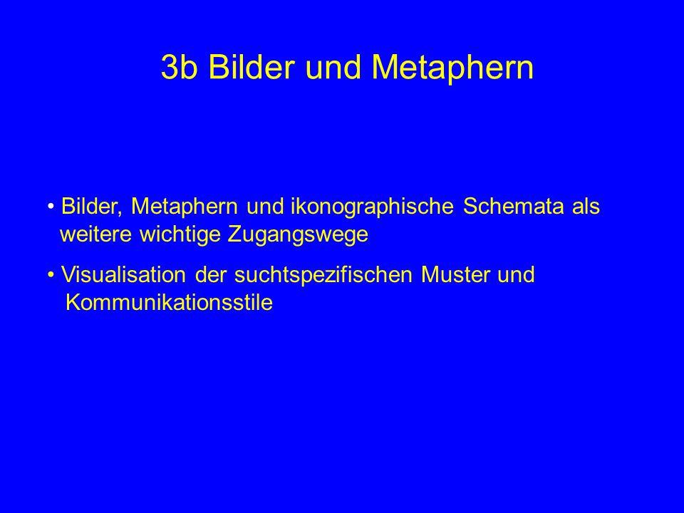 3b Bilder und Metaphern Bilder, Metaphern und ikonographische Schemata als weitere wichtige Zugangswege Visualisation der suchtspezifischen Muster und Kommunikationsstile