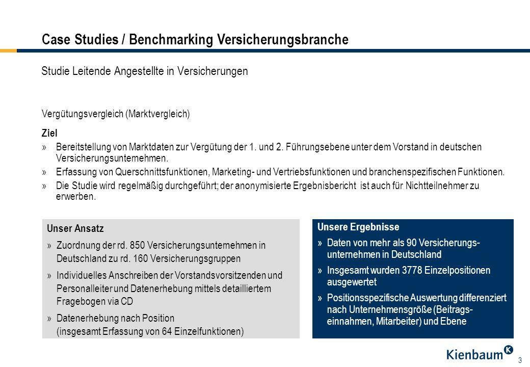 3 Studie Leitende Angestellte in Versicherungen Vergütungsvergleich (Marktvergleich) Unser Ansatz »Zuordnung der rd.