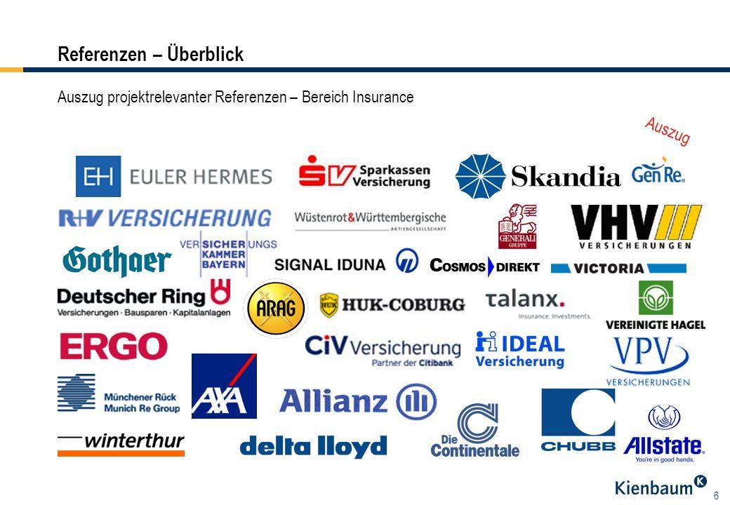 6 Referenzen – Überblick Auszug Auszug projektrelevanter Referenzen – Bereich Insurance