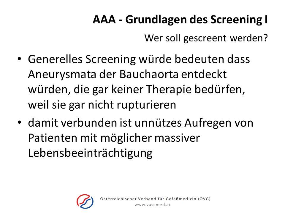AAA - Grundlagen des Screening I Generelles Screening würde bedeuten dass Aneurysmata der Bauchaorta entdeckt würden, die gar keiner Therapie bedürfen