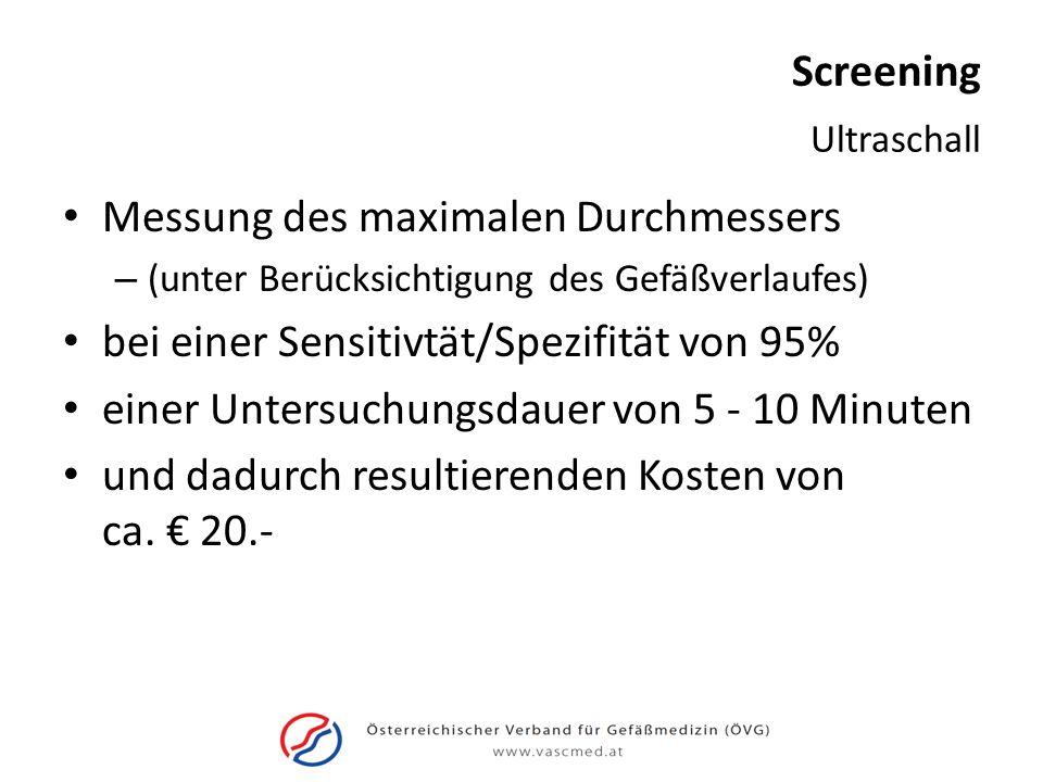 Screening Messung des maximalen Durchmessers – (unter Berücksichtigung des Gefäßverlaufes) bei einer Sensitivtät/Spezifität von 95% einer Untersuchung