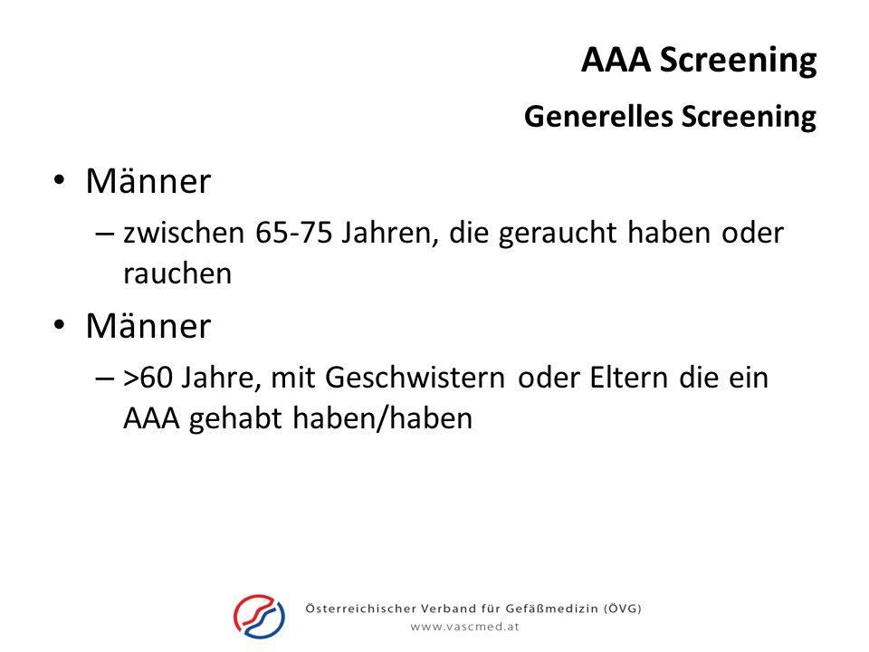 AAA Screening Männer – zwischen 65-75 Jahren, die geraucht haben oder rauchen Männer – >60 Jahre, mit Geschwistern oder Eltern die ein AAA gehabt habe