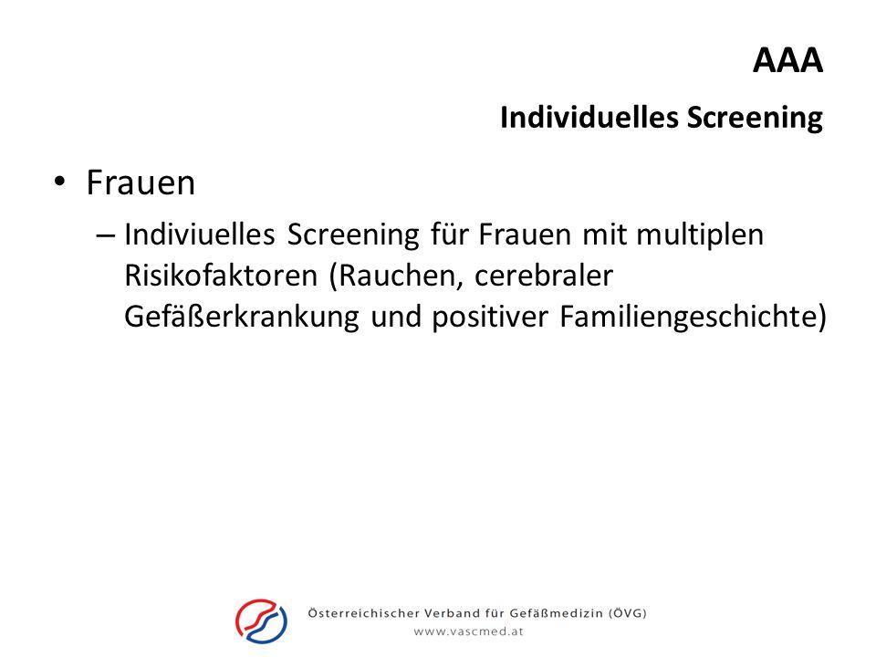 AAA Frauen – Indiviuelles Screening für Frauen mit multiplen Risikofaktoren (Rauchen, cerebraler Gefäßerkrankung und positiver Familiengeschichte) Ind