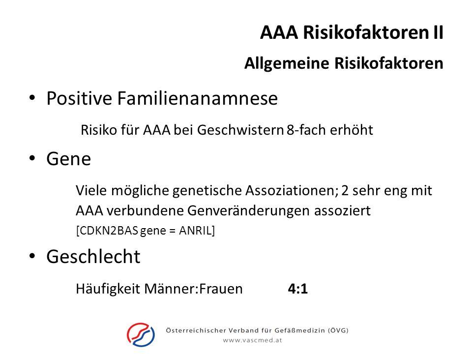 AAA Risikofaktoren II Allgemeine Risikofaktoren Positive Familienanamnese Risiko für AAA bei Geschwistern 8-fach erhöht Gene Viele mögliche genetische