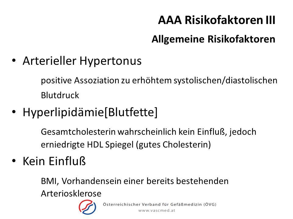 AAA Risikofaktoren III Allgemeine Risikofaktoren Arterieller Hypertonus positive Assoziation zu erhöhtem systolischen/diastolischen Blutdruck Hyperlip
