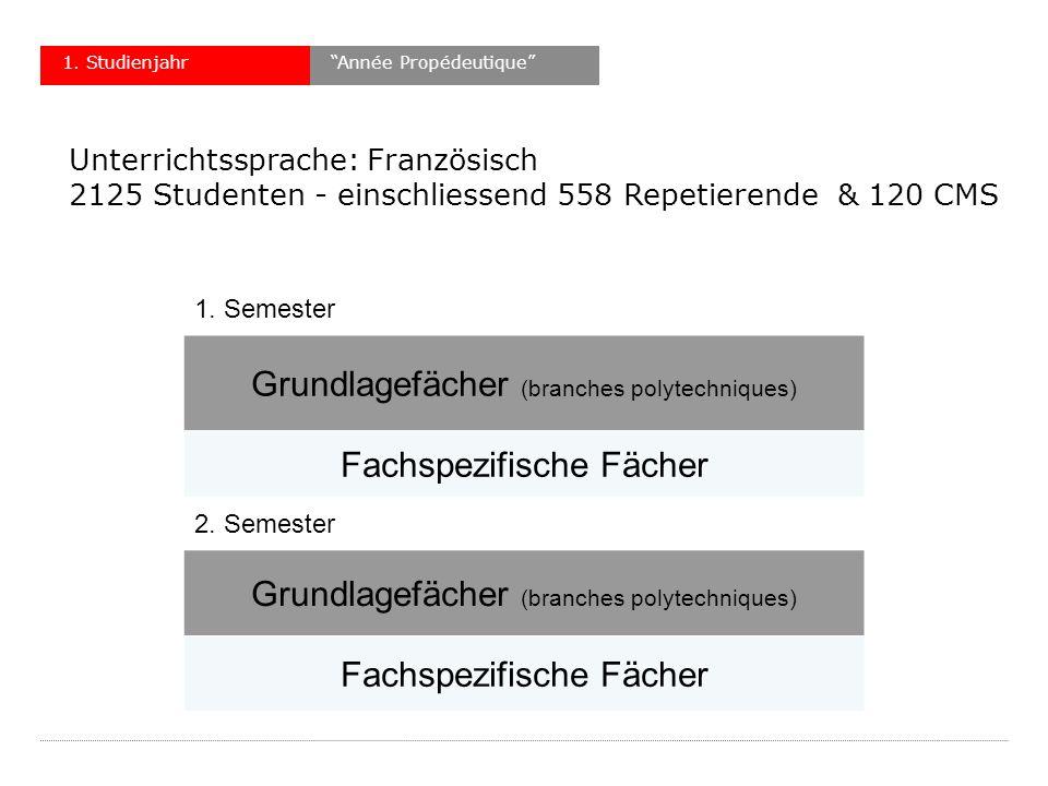 1. Semester Grundlagefächer (branches polytechniques) Fachspezifische Fächer 2.