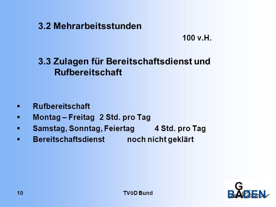 TVöD Bund 10 3.2 Mehrarbeitsstunden 100 v.H. 3.3 Zulagen für Bereitschaftsdienst und Rufbereitschaft Rufbereitschaft Montag – Freitag2 Std. pro Tag Sa