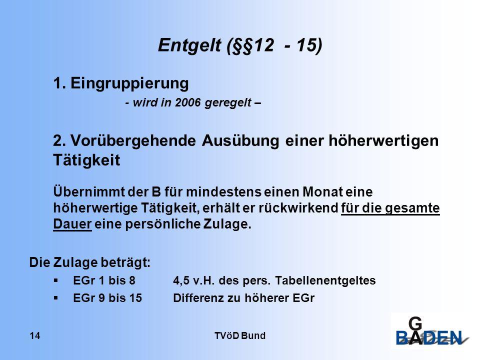 TVöD Bund 14 Entgelt (§§12 - 15) 1. Eingruppierung - wird in 2006 geregelt – 2. Vorübergehende Ausübung einer höherwertigen Tätigkeit Übernimmt der B