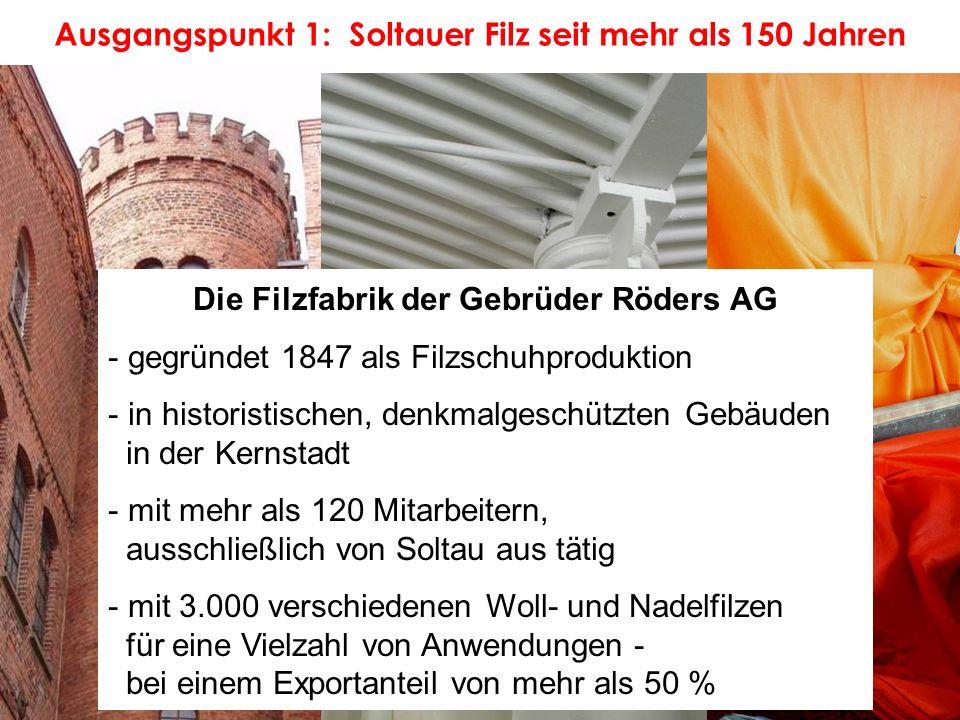 Ausgangspunkt 1: Soltauer Filz seit mehr als 150 Jahren Die Filzfabrik der Gebrüder Röders AG - gegründet 1847 als Filzschuhproduktion - in historisti