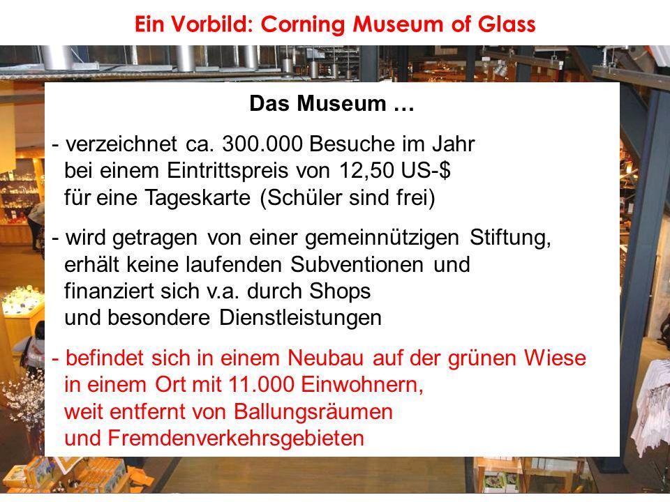 Ein Vorbild: Corning Museum of Glass Das Museum … - verzeichnet ca. 300.000 Besuche im Jahr bei einem Eintrittspreis von 12,50 US-$ für eine Tageskart