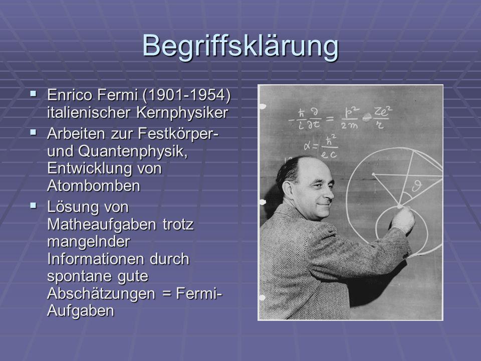 Begriffsklärung Enrico Fermi (1901-1954) italienischer Kernphysiker Enrico Fermi (1901-1954) italienischer Kernphysiker Arbeiten zur Festkörper- und Q