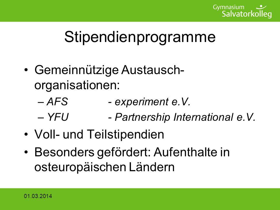Stipendienprogramme Gemeinnützige Austausch- organisationen: –AFS- experiment e.V.