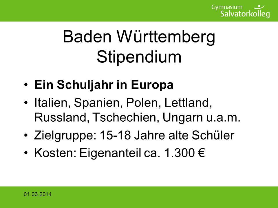 Baden Württemberg Stipendium Ein Schuljahr in Europa Italien, Spanien, Polen, Lettland, Russland, Tschechien, Ungarn u.a.m.