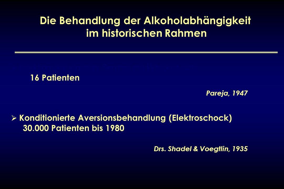 Die Behandlung der Alkoholabhängigkeit im historischen Rahmen Injektion des eigenen Serums mit Whiskyzusatz – 16 Patienten Pareja, 1947 Konditionierte