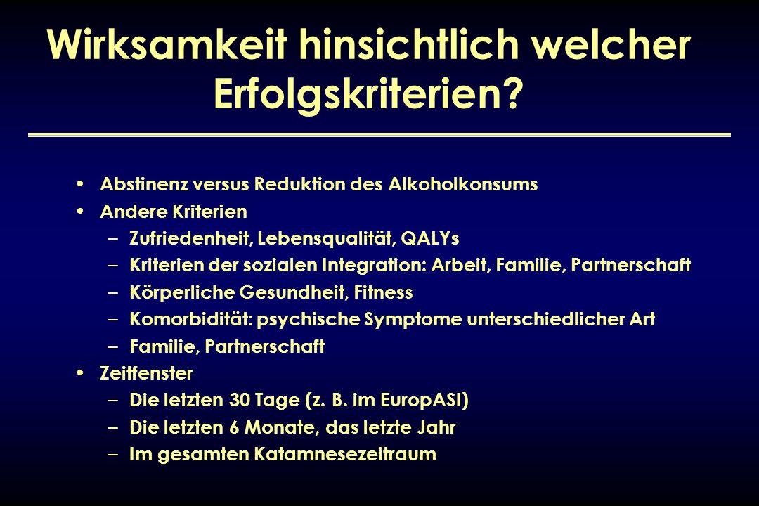 Wirksamkeit hinsichtlich welcher Erfolgskriterien? Abstinenz versus Reduktion des Alkoholkonsums Andere Kriterien – Zufriedenheit, Lebensqualität, QAL
