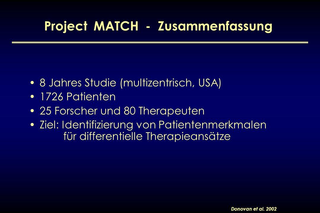 8 Jahres Studie (multizentrisch, USA) 1726 Patienten 25 Forscher und 80 Therapeuten Ziel: Identifizierung von Patientenmerkmalen für differentielle Th