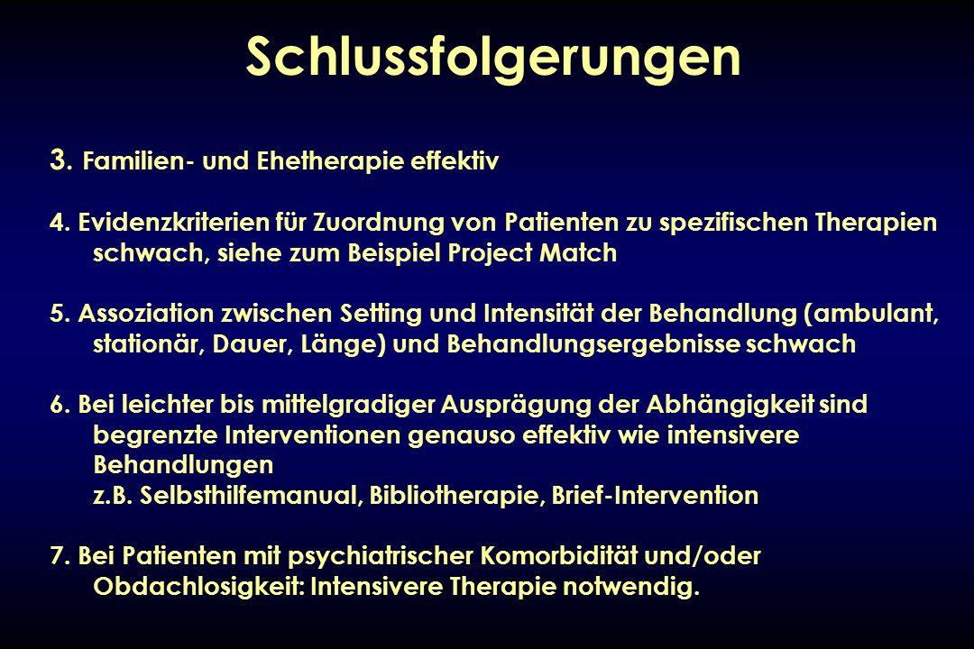 Schlussfolgerungen 3. Familien- und Ehetherapie effektiv 4. Evidenzkriterien für Zuordnung von Patienten zu spezifischen Therapien schwach, siehe zum
