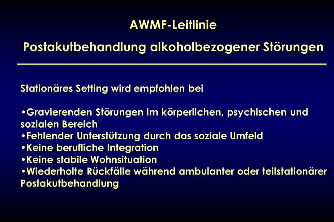AWMF-Leitlinie Postakutbehandlung alkoholbezogener Störungen Stationäres Setting wird empfohlen bei Gravierenden Störungen im körperlichen, psychische