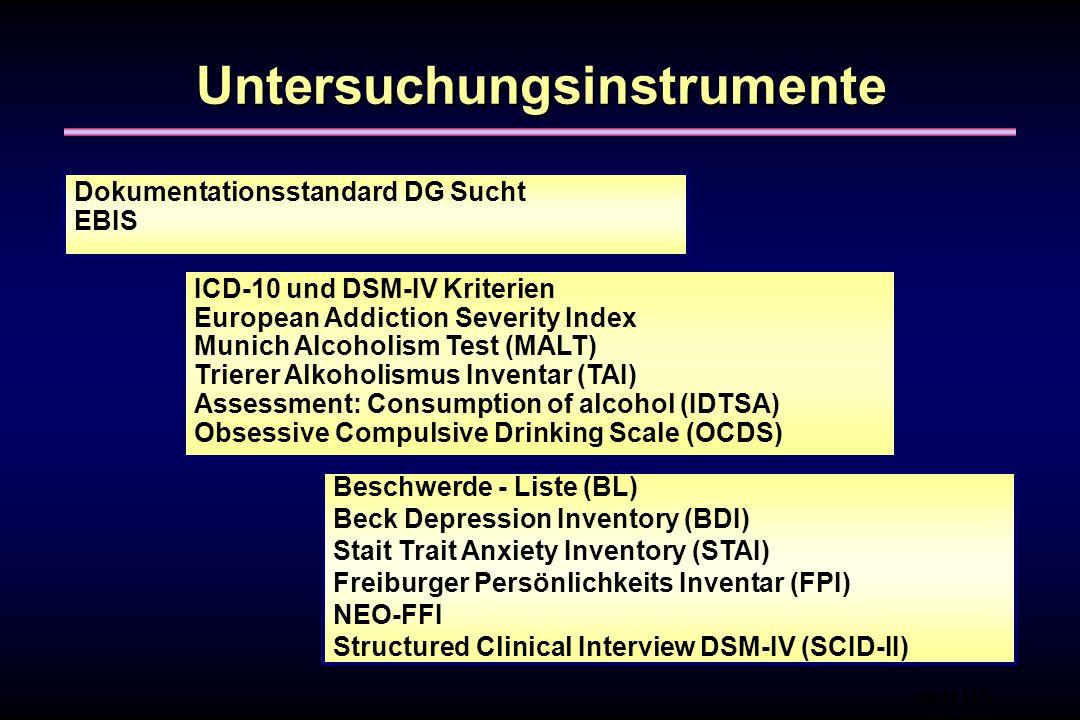 Untersuchungsinstrumente Dokumentationsstandard DG Sucht EBIS ICD-10 und DSM-IV Kriterien European Addiction Severity Index Munich Alcoholism Test (MA