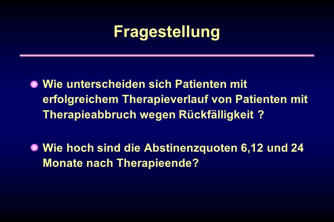 Fragestellung Wie unterscheiden sich Patienten mit erfolgreichem Therapieverlauf von Patienten mit Therapieabbruch wegen Rückfälligkeit ? Wie hoch sin