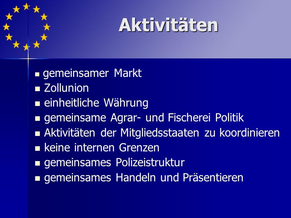 gemeinsamer Markt Zollunion einheitliche Währung gemeinsame Agrar- und Fischerei Politik Aktivitäten der Mitgliedsstaaten zu koordinieren keine internen Grenzen gemeinsames Polizeistruktur gemeinsames Handeln und Präsentieren Aktivitäten