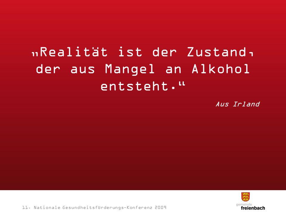 Realität ist der Zustand, der aus Mangel an Alkohol entsteht. Aus Irland 11. Nationale Gesundheitsförderungs-Konferenz 2009