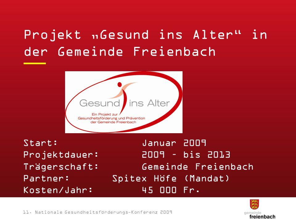 11. Nationale Gesundheitsförderungs-Konferenz 2009 Start:Januar 2009 Projektdauer:2009 – bis 2013 Trägerschaft:Gemeinde Freienbach Partner:Spitex Höfe