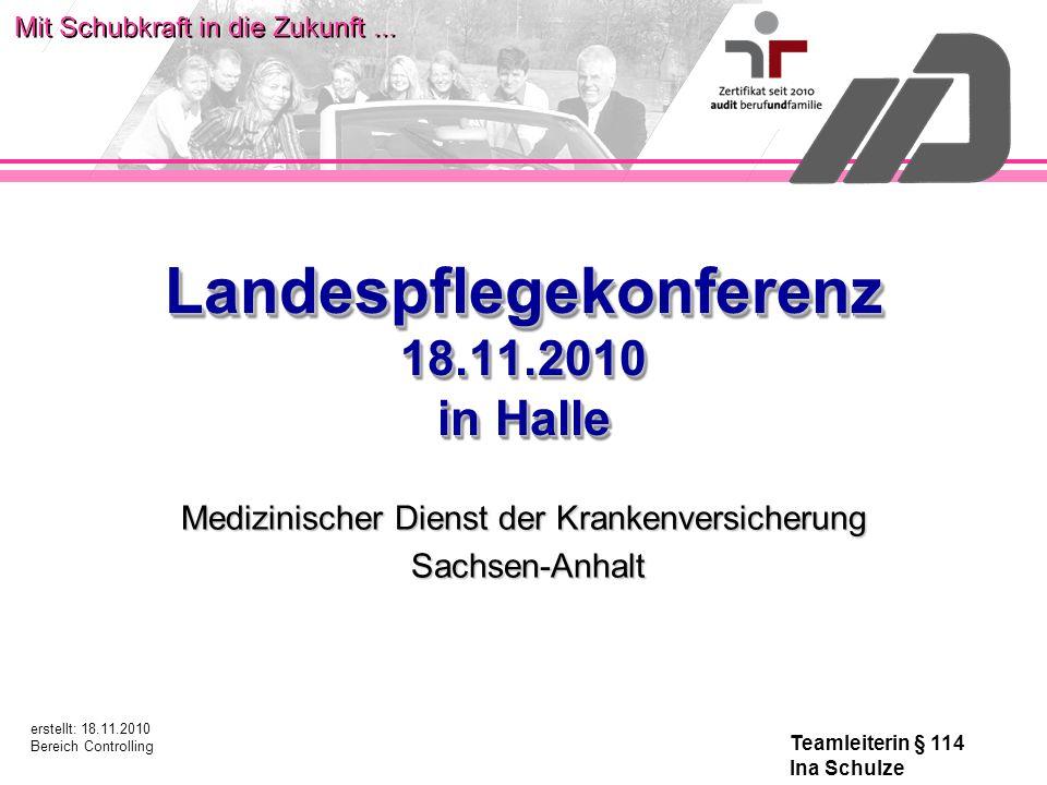 Mit Schubkraft in die Zukunft... Landespflegekonferenz 18.11.2010 in Halle Medizinischer Dienst der Krankenversicherung Sachsen-Anhalt Sachsen-Anhalt