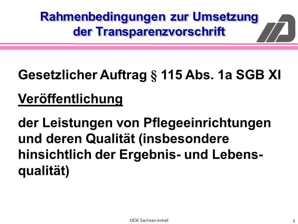 MDK Sachsen-Anhalt 6 Rahmenbedingungen zur Umsetzung der Transparenzvorschrift Gesetzlicher Auftrag § 115 Abs. 1a SGB XI Veröffentlichung der Leistung