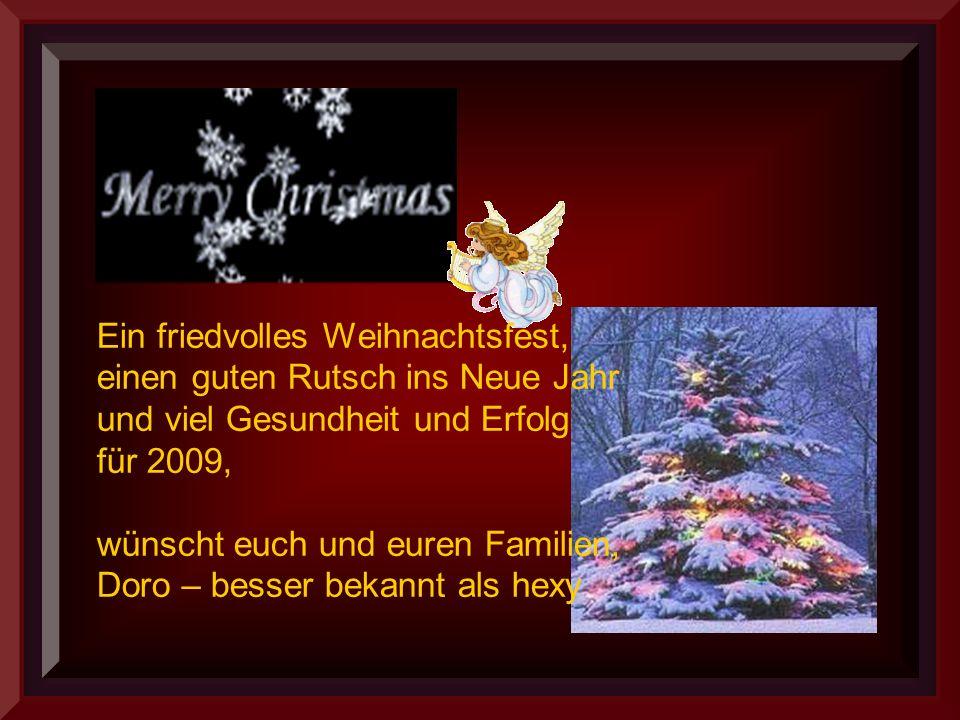 Ein friedvolles Weihnachtsfest, einen guten Rutsch ins Neue Jahr und viel Gesundheit und Erfolg für 2009, wünscht euch und euren Familien, Doro – besser bekannt als hexy