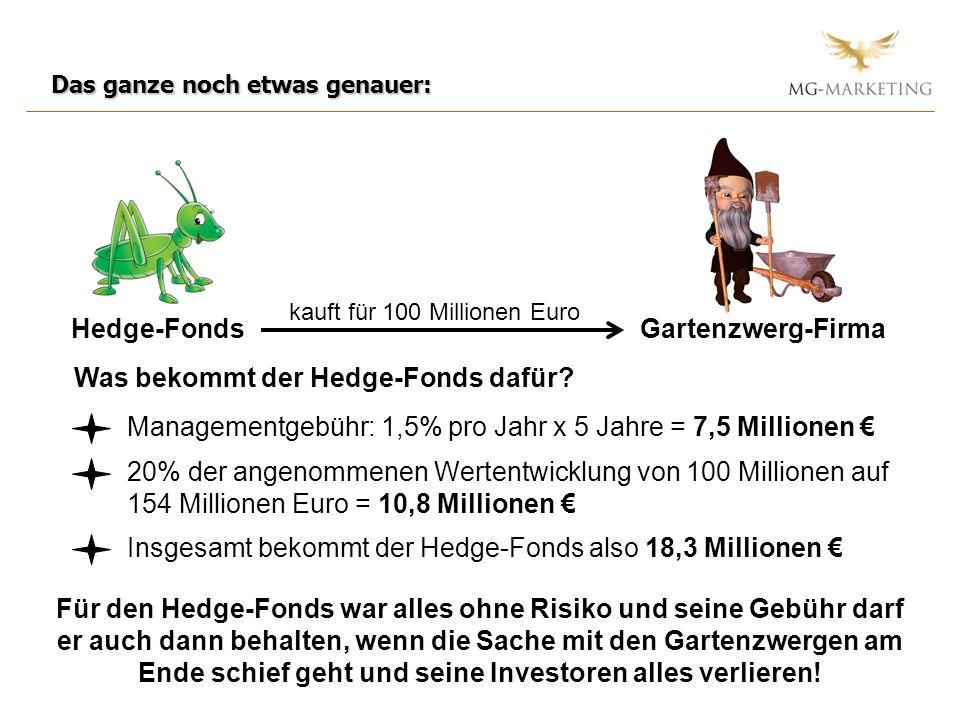 Das ganze noch etwas genauer: Hedge-FondsGartenzwerg-Firma kauft für 100 Millionen Euro Was bekommt der Hedge-Fonds dafür.